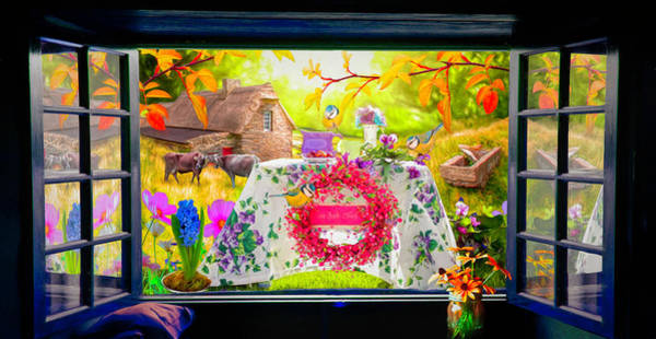 Spring Mountains Digital Art - Window To The Garden by Debra and Dave Vanderlaan