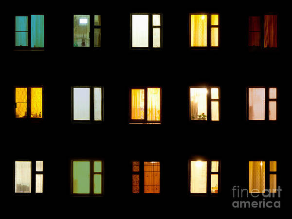 Night Life Photograph - Windows At Night. House Building Lights by Pzaxe