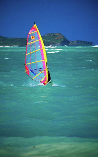 Windsurfing Photograph - Windsurfer On The Shores Of Kailua by Ann Cecil