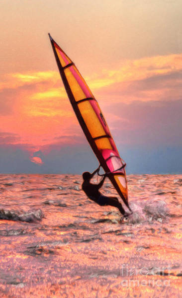 Digital Art - Windsurfing At Sunrise by Jeff Breiman