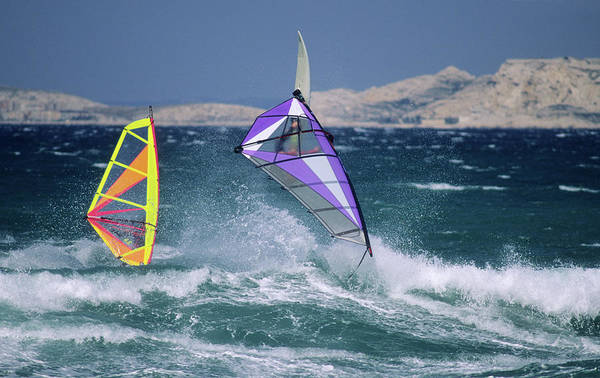 Windsurfing Photograph - Windsurfing On The Sea Mediterranean by P. Eoche