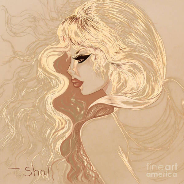 Tan Skin Drawing - Windy Day Abstract by Tara Shalton