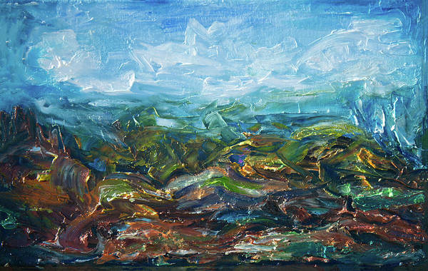 Painting - Windy Day In The Grassland. Original Oil Painting Impressionist Landscape. by OLena Art Brand