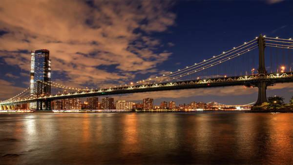 Photograph - Windy Evening Under The Manhattan Bridge  by Harriet Feagin