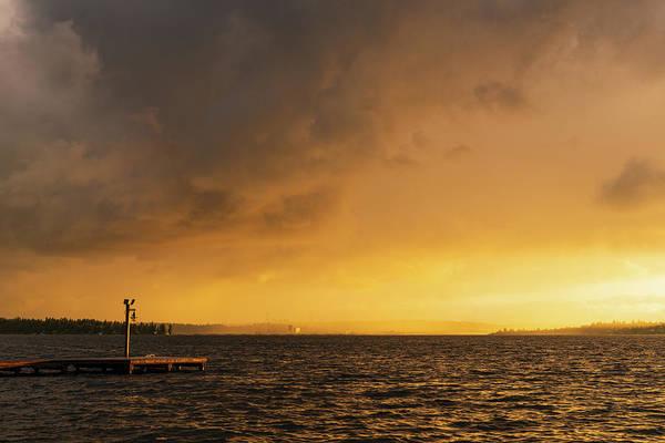Digital Art - Windy Storm In The Lake Washington by Michael Lee