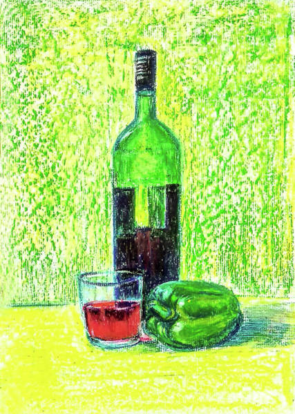 Wall Art - Painting - Wine And Capsicum by Asha Sudhaker Shenoy