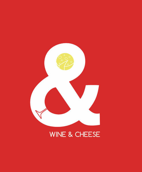 Negative Space Digital Art - Wine And Cheese by Neelanjana Bandyopadhyay