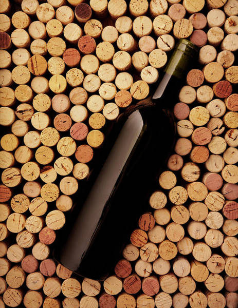 Drinking Glass Photograph - Wine Bottle And Corks by Wragg
