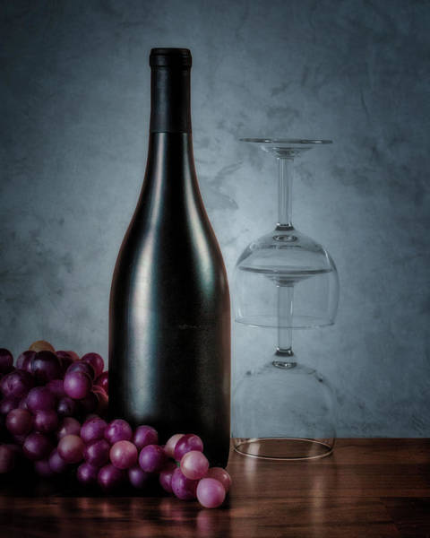 Bottles Photograph - Wine Bottle And Two Glasses by Tom Mc Nemar