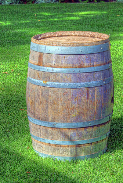Camera Raw Photograph - Wine Cask On Grass by Brenton Cooper