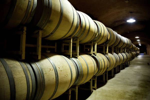 Sonoma County Photograph - Wine Cave With Oak Barrels In Napa by Seanfboggs