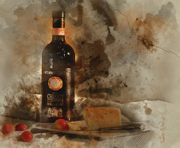 Wall Art - Digital Art - Wine Cherries And Cheese Wc by Paulette B Wright