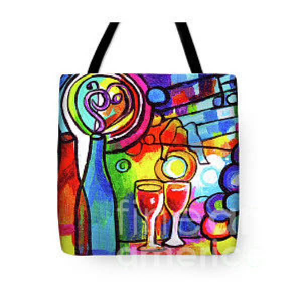 Wall Art - Painting - Wine Menagerie Abstract Tote Bag by Genevieve Esson