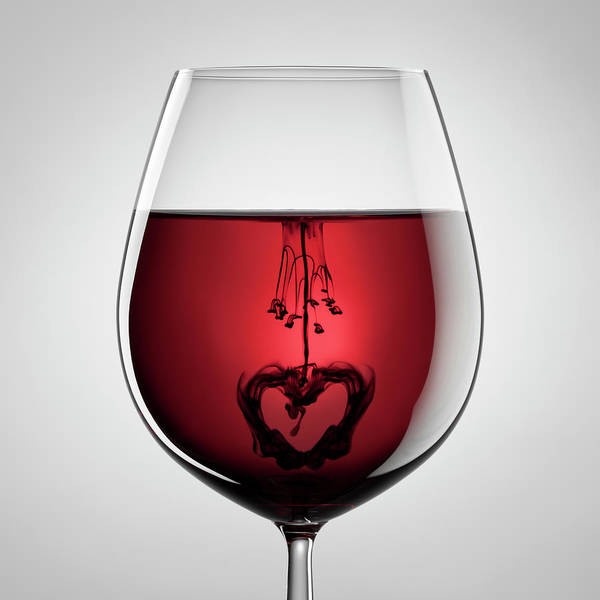 Blob Photograph - Wineglass, Red Wine, Black Ink And by Thomasvogel