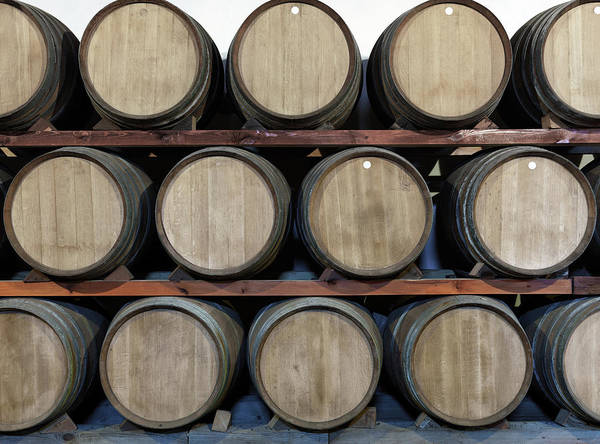 Italian Wine Photograph - Winery Oak, Barrels At A Bodega On by Goldhafen
