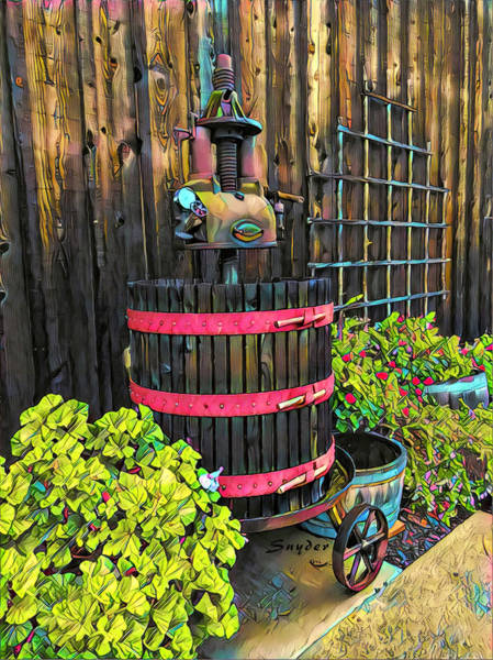 Photograph - Winery Wine Press Antique by Barbara Snyder