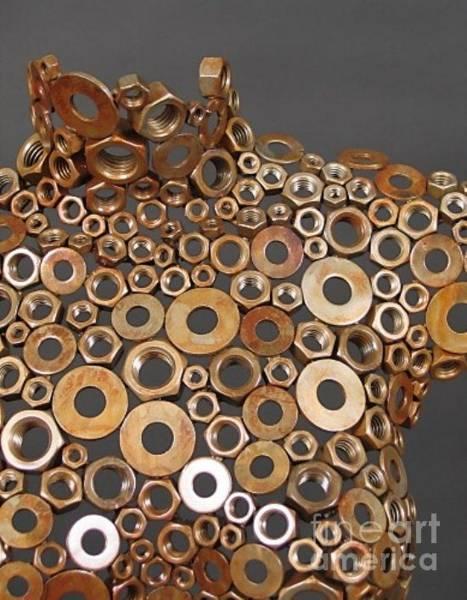 Sculpture - Wing Nut Brass Manekin  by Kasey Jones