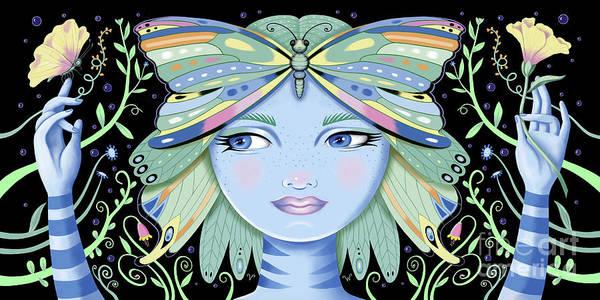 Digital Art - Insect Girl, Winga - Black by Valerie White