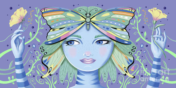 Digital Art - Insect Girl, Winga - Purple by Valerie White