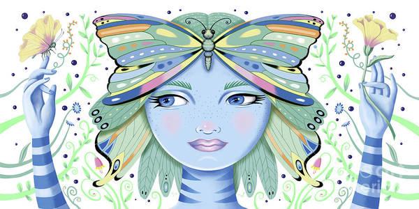 Digital Art - Insect Girl, Winga - White by Valerie White