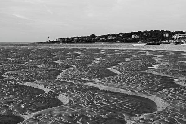 Photograph - Wingaersheek Beach Sand Patterns Gloucester Ma Annisquam Lighthouse Black And White by Toby McGuire