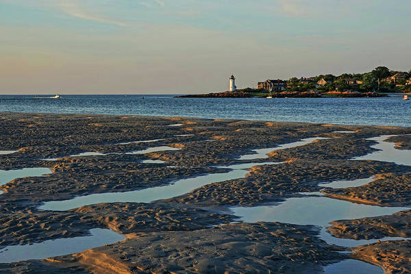 Photograph - Wingaersheek Beach Sand Patterns Gloucester Ma Annisquam Lighthouse Sand Bar Pools by Toby McGuire