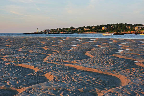 Photograph - Wingaersheek Beach Sand Patterns Gloucester Ma Annisquam Lighthouse by Toby McGuire