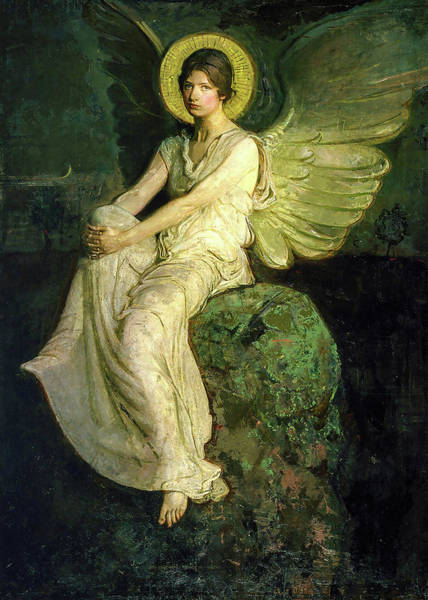 Wall Art - Painting - Winged Figure Seated Upon A Rock, 1914 by Abbott Handerson Thayer