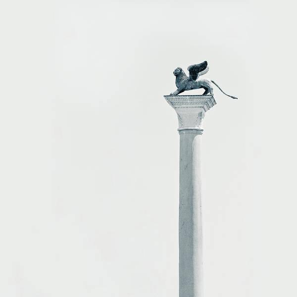 Lion Statue Photograph - Winged Lion Column by Nico De Pasquale Photography