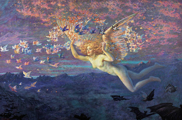 Wall Art - Painting - Wings Of The Morning, 19th Century by Edward Robert Hughes