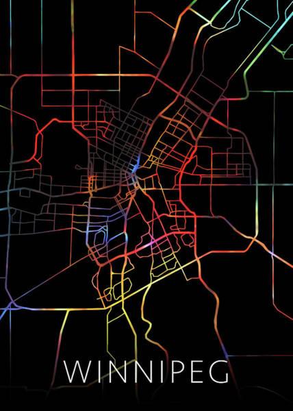 Wall Art - Mixed Media - Winnipeg Manitoba Canada Watercolor City Street Map Dark Mode by Design Turnpike