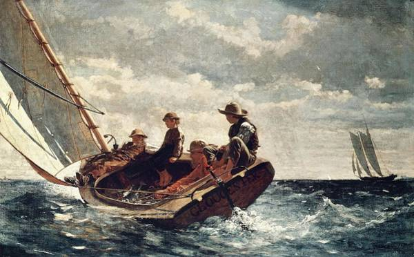 Car Accident Painting - Winslow Homer Breezing Up -a Fair Wind-. Date/period 1873 - 1876. Painting. by Winslow Homer