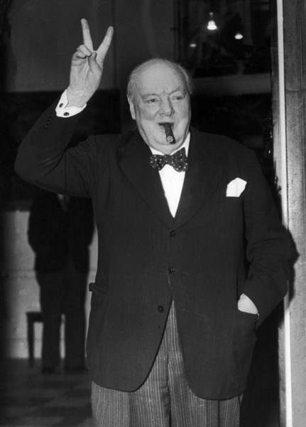 Secretary Photograph - Winston Churchill And His Victory V by Keystone-france