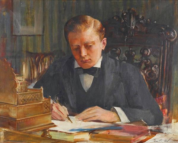 Arthurs Seat Painting - Winston Churchill As A Young Man by Edwin Arthur Ward