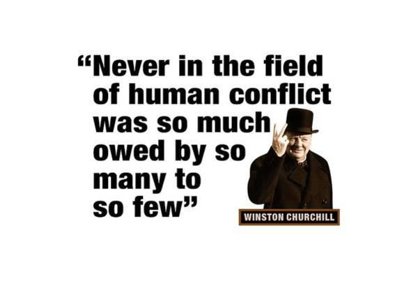 Blenheim Digital Art - Winston Churchill  Never In The Field Of Human Conflict Was So Much Owed By So Many To So Few by David Richardson