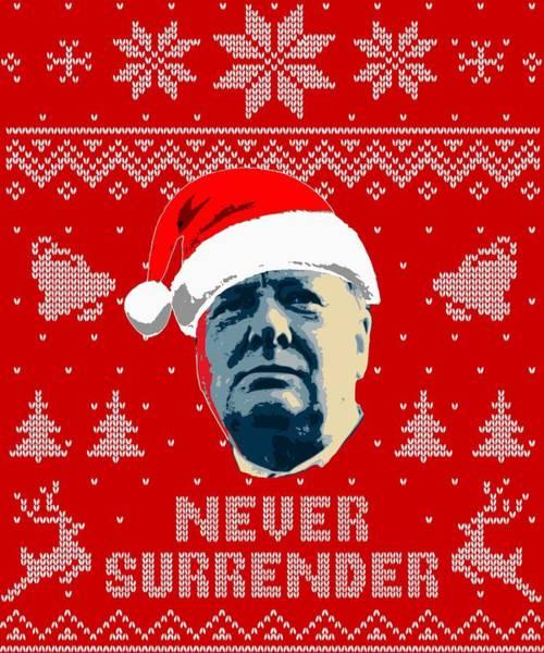 Blitz Digital Art - Winston Churchill Never Surrender Christmas by Filip Hellman