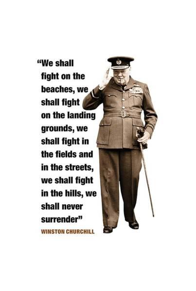 Blenheim Digital Art - Winston Churchill Quote  We Shall Fight Them On The Beaches by David Richardson