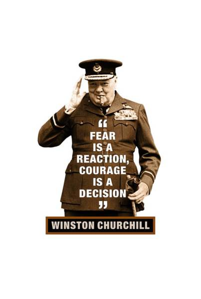 Blenheim Digital Art - Winston Churchill Quotes  Fear Is A Reaction  Courage Is A Decision by David Richardson
