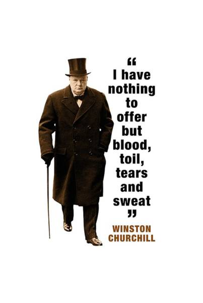 Blenheim Digital Art - Winston Churchill Quotes   I Have Nothing To Offer But Blood, Toil, Tears And Sweat by David Richardson