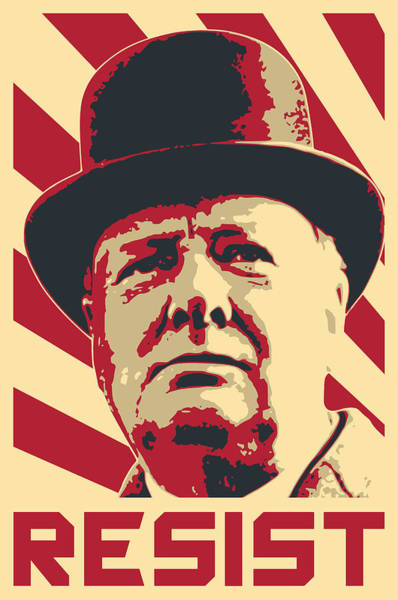 Wall Art - Digital Art - Winston Churchill Resist by Filip Hellman