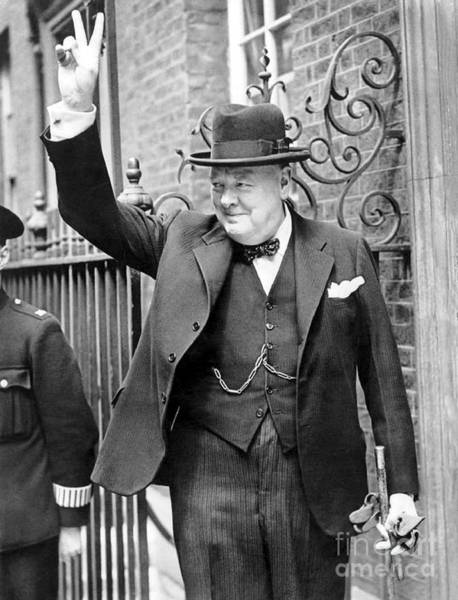 Wwii Photograph - Winston Churchill Showing The V Sign by English School