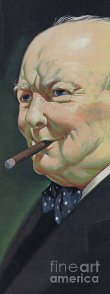 Wall Art - Painting - Winston Churchill With A Cigar by Angus McBride