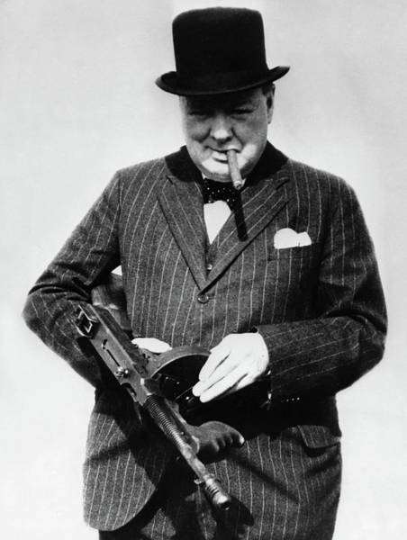 Wall Art - Painting - Winston Churchill With Tommy Gun by English School