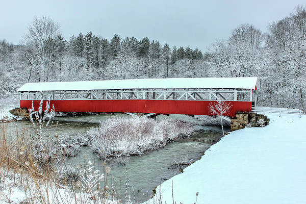 Somerset County Photograph - Winter At Barronvale Covered Bridge by Rusty Glessner