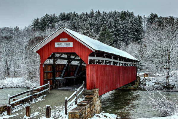 Somerset County Photograph - Winter At Kings Covered Bridge by Rusty Glessner