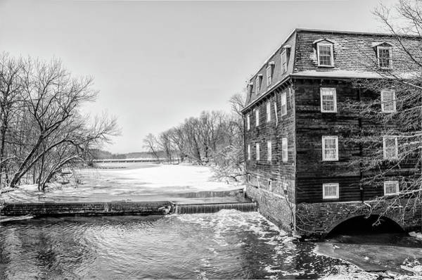Photograph - Winter At Kingston Mill In Black And White by Bill Cannon