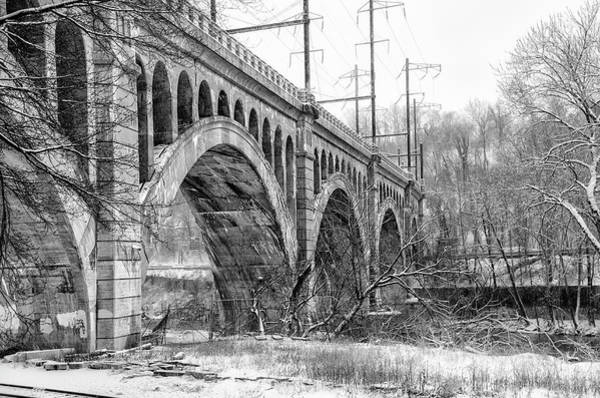 Wall Art - Photograph - Winter At The Manayunk Bridge In Black And White by Bill Cannon