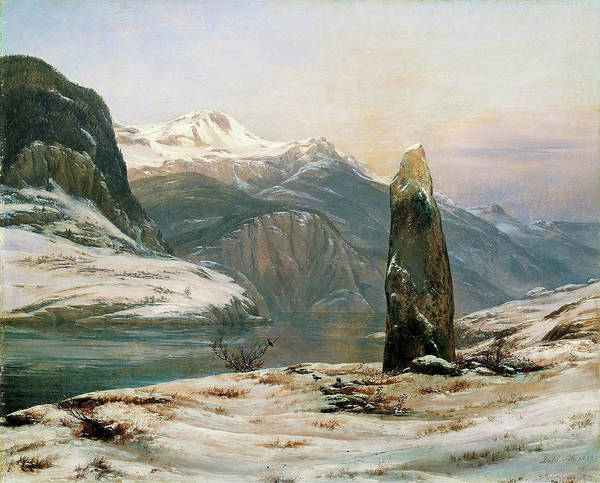 Wall Art - Painting - Winter At The Sognefjord - Digital Remastered Edition by Johan Christian Dahl