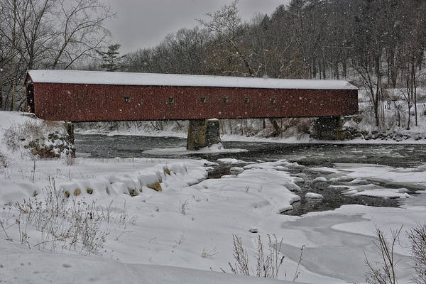 Wall Art - Photograph - Winter At West Cornwell Bridge by Mike Martin