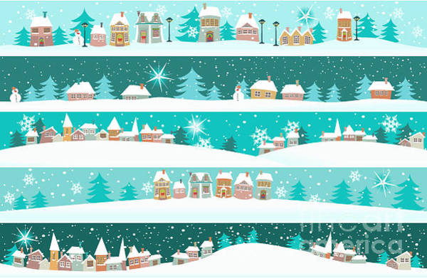 Wall Art - Digital Art - Winter Banners With Cartoon Houses by Jagoda